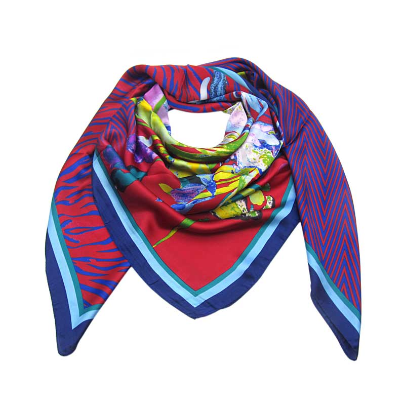 29a6fa25baf Velký červený šátek čtvercový s potiskem květin