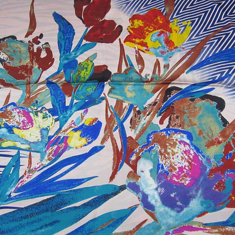 Růžový čtvercový velký šátek s potiskem květin  dc4a5acb3a