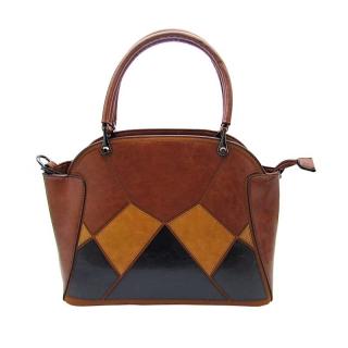 Originální Ines Delaure hnědá středně kabelka na rameno i do ruky se  geometrickou mozaikou 92b3409cc1c